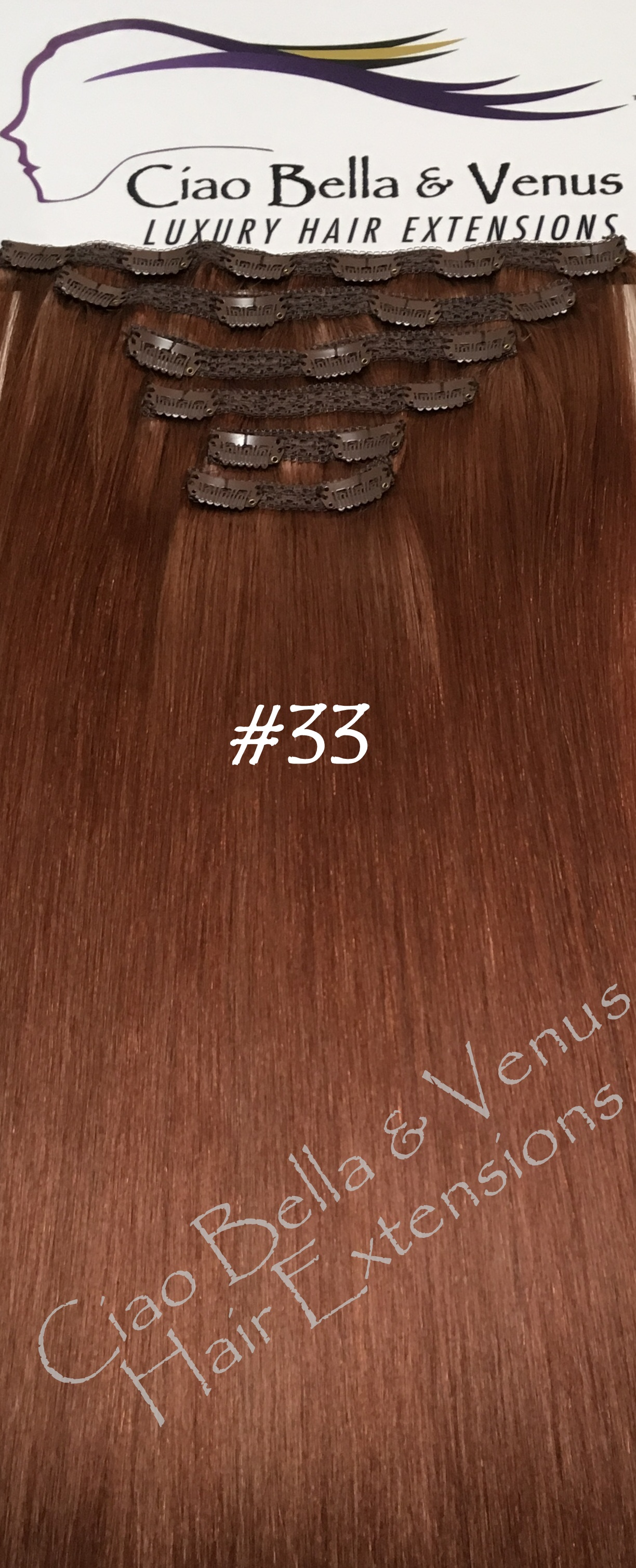 Clip In Hair Extensions Venus Luxury Remy 24 In Color 33